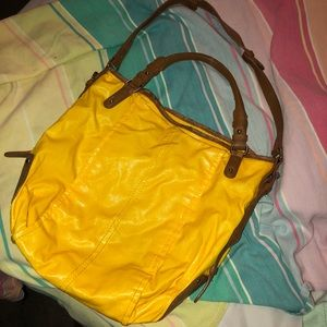 GAP Yellow tote with handles and shoulder strap.